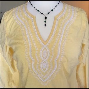 Vintage Papagallo yellow cotton embroidered tunic